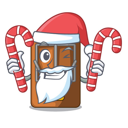 Santa with candy mousetrap is placed above cartoon table vector illustration