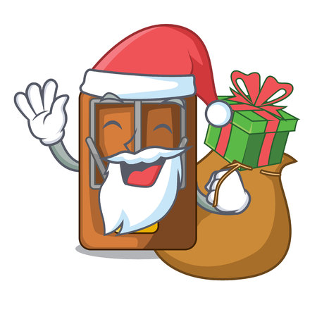 Santa with gift mousetrap is placed above cartoon table vector illustration