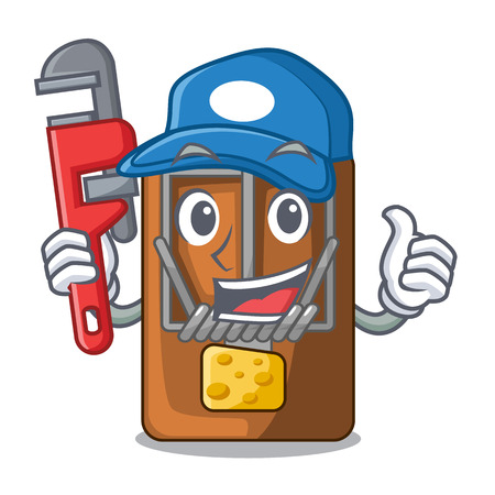 Plumber mousetrap is placed above cartoon table vector illustration