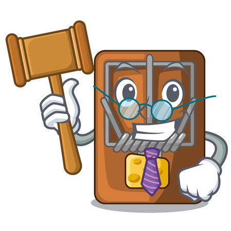 Judge mousetrap is placed above cartoon table vector illustration