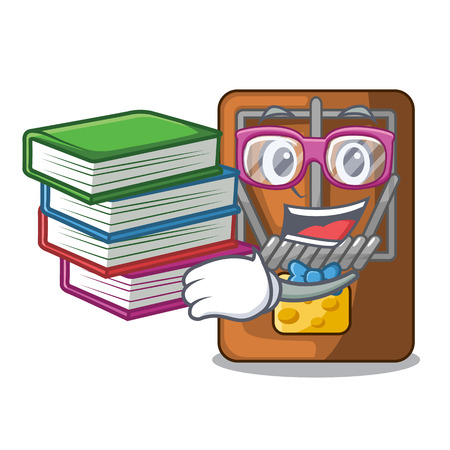 Student with book mousetrap is placed above cartoon table vector illustration