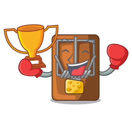 Boxing winner mousetrap is placed above cartoon table vector illustration