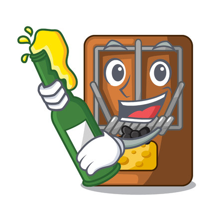 With beer mousetrap is placed above cartoon table vector illustration Çizim
