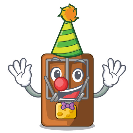 Clown mousetrap is placed above cartoon table vector illustration