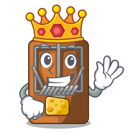 King mousetrap is placed above cartoon table vector illustration Çizim