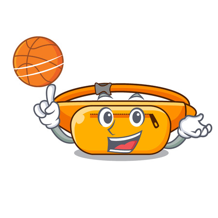 With basketball waist bag placed in cartoon closet vector illustration