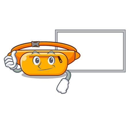 Thumbs up with board waist bag placed in cartoon closet vector illustration Ilustrace
