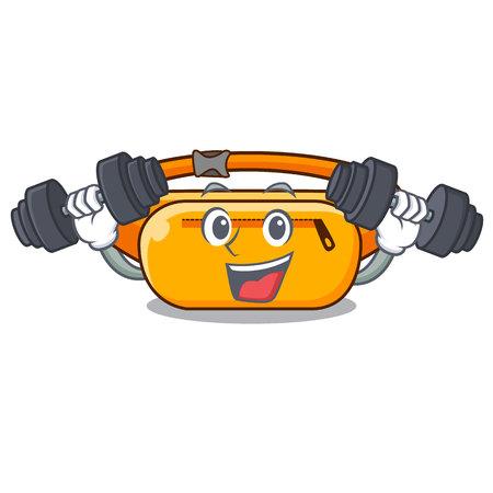 Fitness waist bag placed in cartoon closet vector illustration
