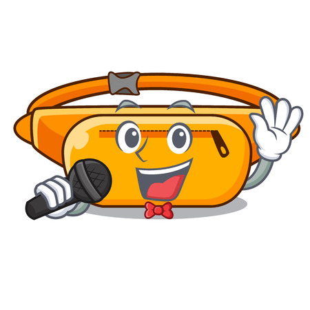 Singing waist bag the shape funny characters vector illustration