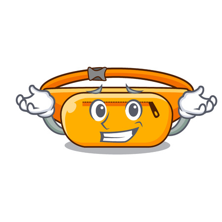 Grinning waist bag in the shape mascot vector illustration