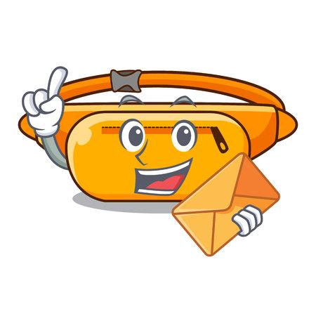 With envelope waist bag in the shape mascot vector illustration Ilustração