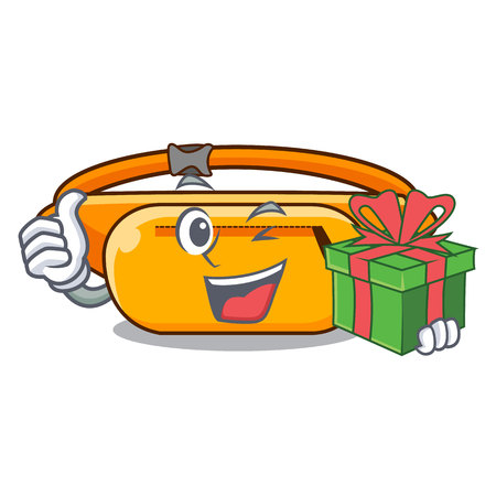 With gift waist bag the shape funny characters vector illustration Vettoriali