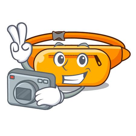 Photographer waist bag the shape funny characters vector illustration