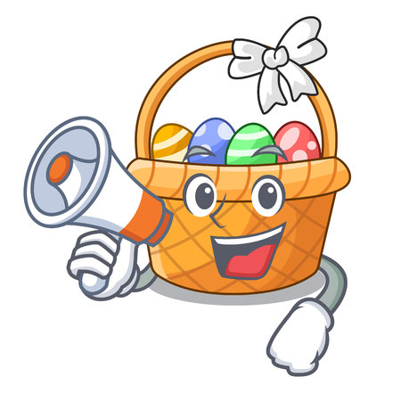 With megaphone easter basket ball in cartoon shape vector illustration