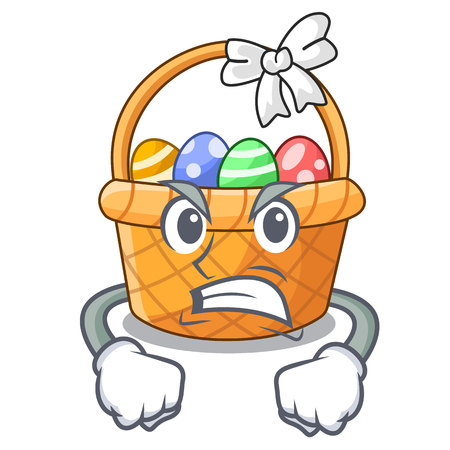 Angry easter basket miniature the shape mascot vector illustration