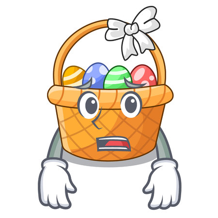 Afraid easter basket miniature the shape mascot vector illustration