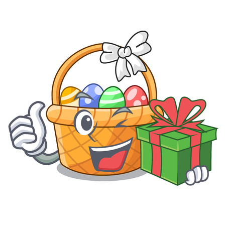 With gift easter basket miniature the shape mascot vector illustration