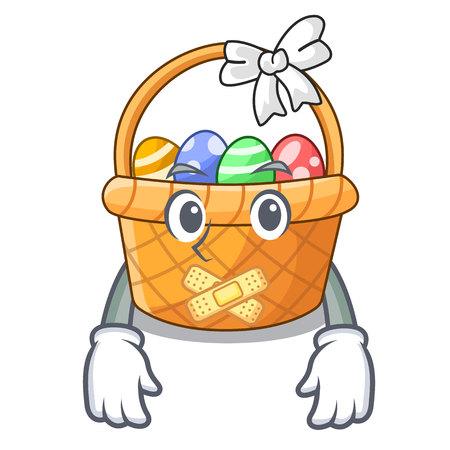 Silent easter basket above wooden cartoon table
