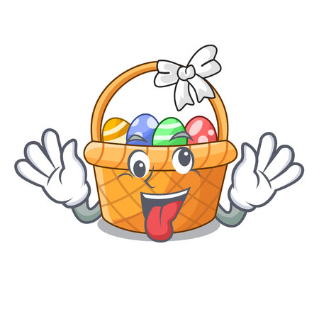 Crazy easter basket above wooden cartoon table vector ilustration