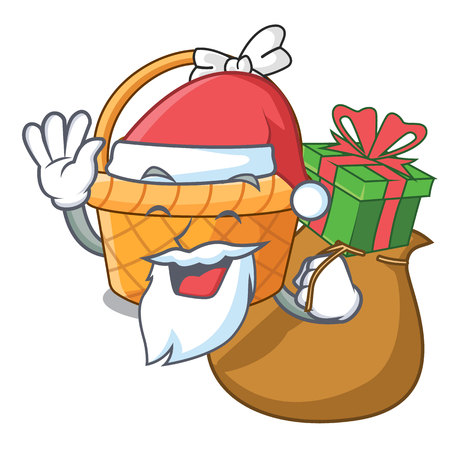 Santa with gift easter basket above wooden cartoon table vector ilustration Imagens - 124557298