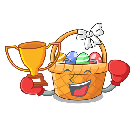 Boxing winner easter basket above wooden cartoon table vector ilustration Imagens - 124557301