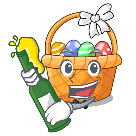 With beer easter basket above wooden cartoon table vector ilustration Imagens - 124557302