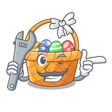 Mechanic easter basket above wooden cartoon table vector ilustration
