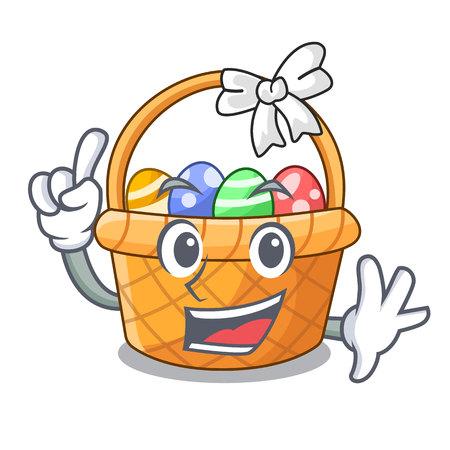 Finger easter basket above wooden cartoon table vector ilustration