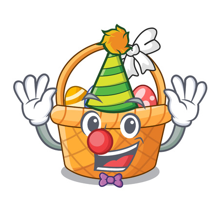 Clown easter basket above wooden cartoon table vector ilustration