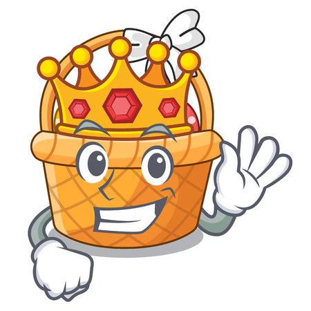 King easter basket above wooden cartoon table vector ilustration Ilustração