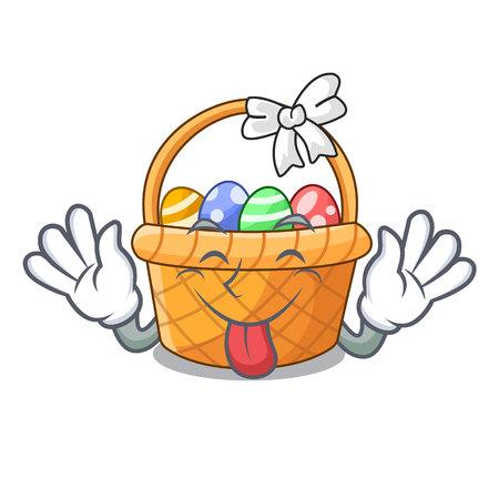 Tongue out easter basket above wooden cartoon table vector ilustration Ilustração