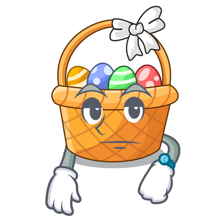 Waiting easter basket above wooden cartoon table vector ilustration