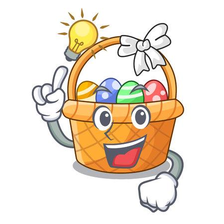 Have an idea easter basket above wooden cartoon table vector ilustration Ilustração