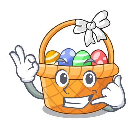 Call me easter basket above wooden cartoon table vector ilustration Illustration