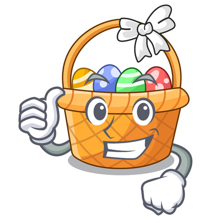 Thumbs up easter basket isolated in the character vector illustration