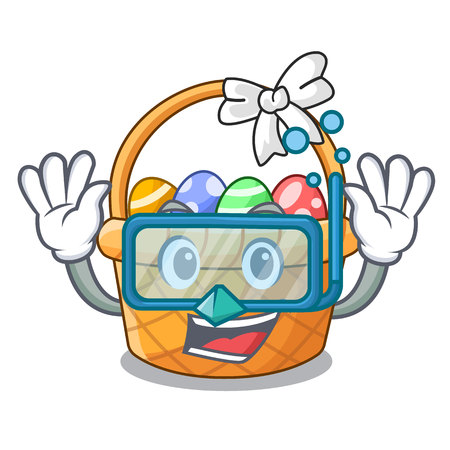 Diving easter basket isolated in the character vector illustration Illustration