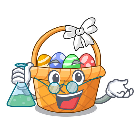Professor easter basket isolated in the character vector illustration