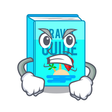 Angry travel guide book placed rack character vector illustrtion