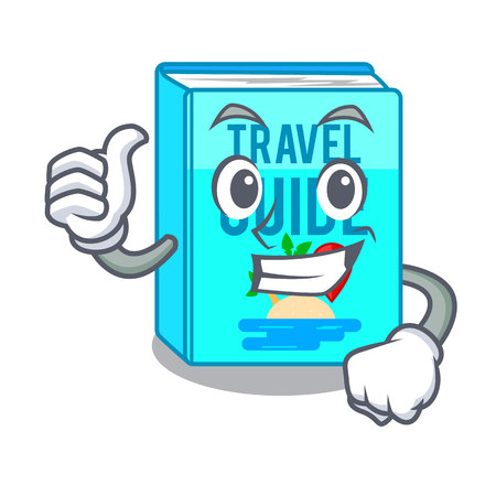 Thumbs up travel guide book isolated in cartoon vector illustration Illustration