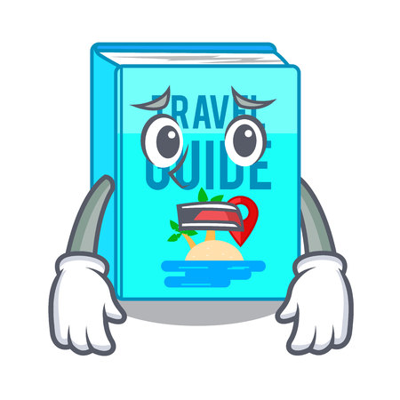 Afraid travel guide book placed rack character vector illustrtion