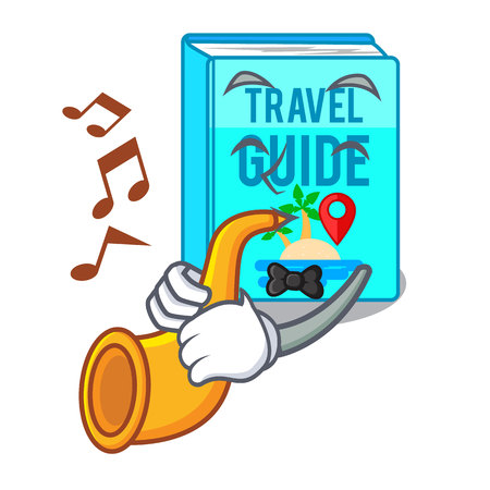 With trumpet travel guide book placed rack character vector illustrtion