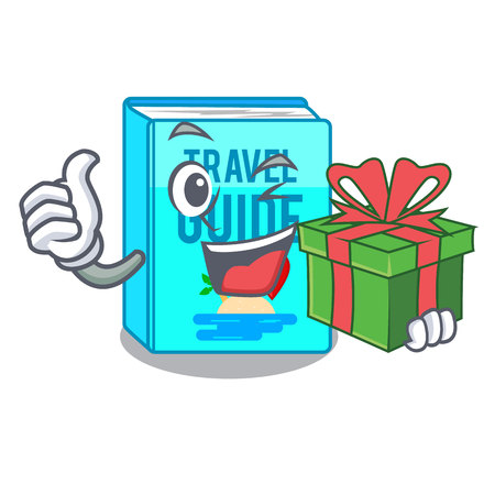With gift travel guide book placed rack character vector illustrtion