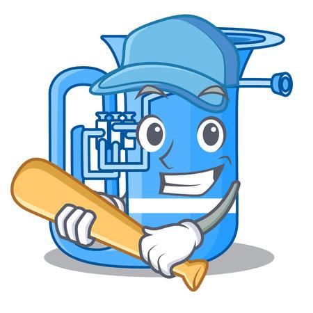 Playing baseball tuba in the mascot music room vector illustration