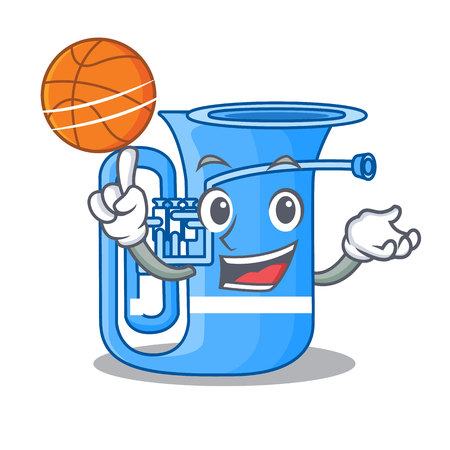 With basketball tuba in the mascot music room vector illustration Illustration