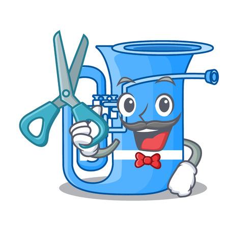 Barber tuba in the mascot music room vector illustration