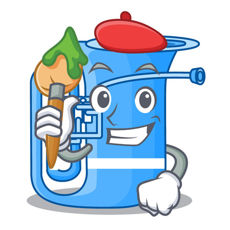 Artist tuba in the mascot music room vector illustration