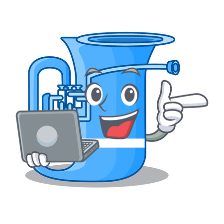 With laptop tuba in the mascot music room vector illustration