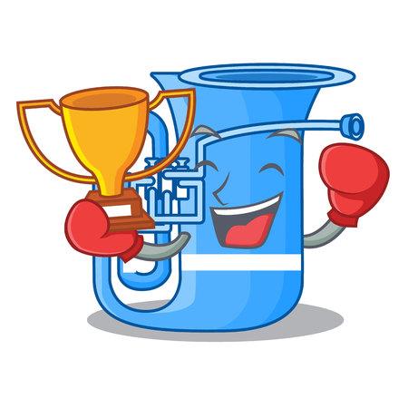 Boxing winner miniature tuba in the shape cartoon vector illustration Illustration