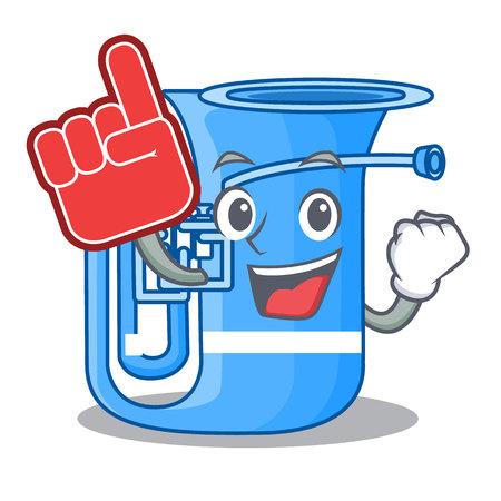 Foam finger miniature tuba in the shape cartoon vector illustration