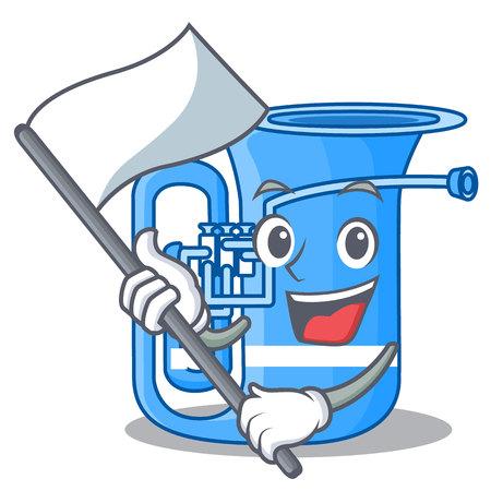 With flag miniature tuba in the shape cartoon vector illustration Imagens - 124557464